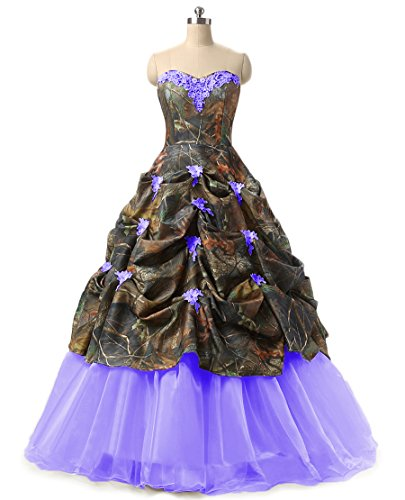 Chupeng Women's Sweetheart Ball Gown Appliques Camouflage Wedding Dresses For Bride Blue 22