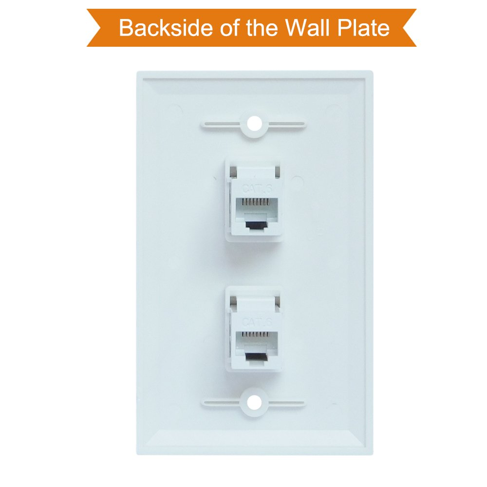 Ethernet Wall Plate 2 Port Esylink Cat6 Cable Poin Jack Wiring Female To White Computers Accessories