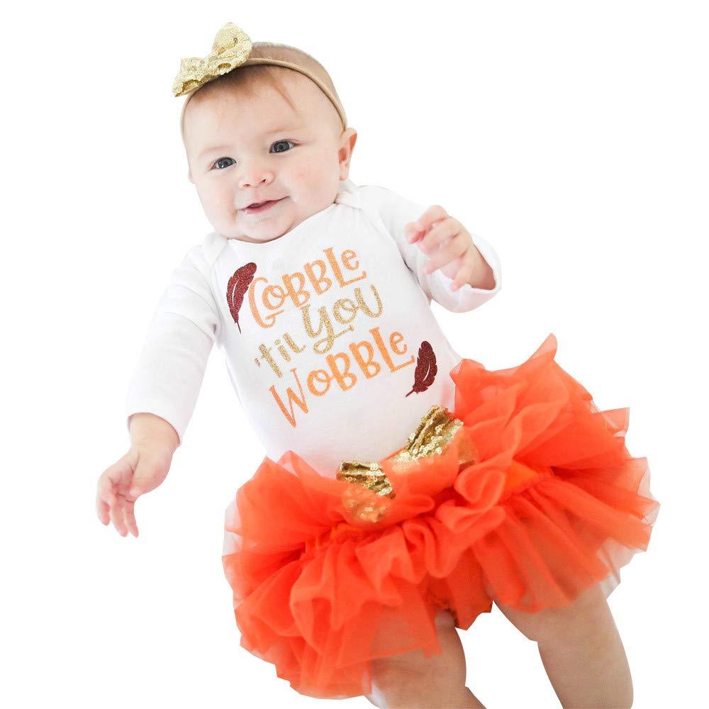 Wensltd クリアランス! 3点 赤ちゃん 女の子 レターロンパートップス+チュスカート+ヘッドバンド 感謝祭 洋服セット 12M ホワイト B07HD18RVK