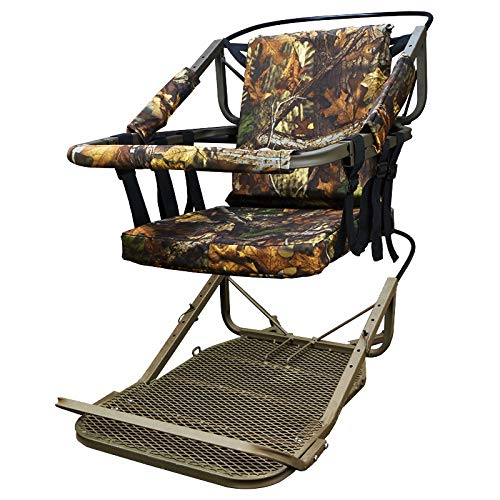 XtremepowerUS Tree Stand Climber Climbing Hunting Deer Bow Game Hunt Portable Treestand Padded Seat w/Body Harness