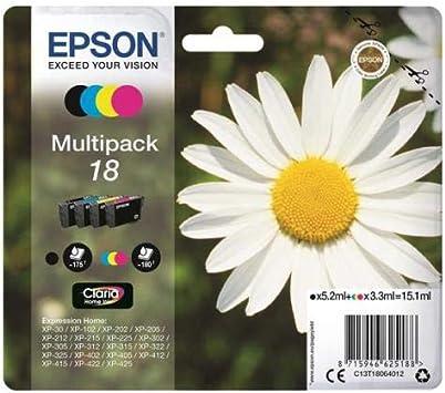 Epson Orginal 18 Tinte Gänseblümchen Xp 305 Xp 402 Xp 215 Xp 312 Xp 315 Xp 412 Xp 415 Xp 225 Xp 322 Xp 325 Xp 422 Xp 425 Normalverpackung Standard Multipack 4 Farbig Bürobedarf Schreibwaren