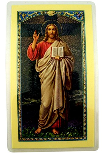 God Laminated - WJH Laminated Jesus Christ Holy Card with Ten Commandments of God, Pack of 10, 4 1/2 Inch