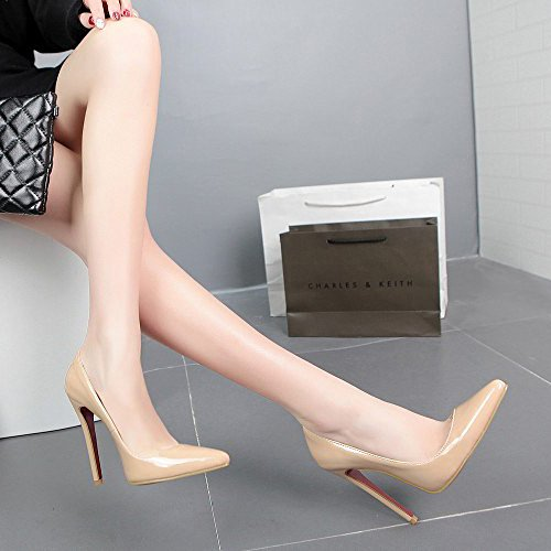 AQOOS Femmes Extreme Haute Couture Bout Pointu Pompes Mariage Robe Stiletto Glisser Sur Les Chaussures Nude k6l3eqln