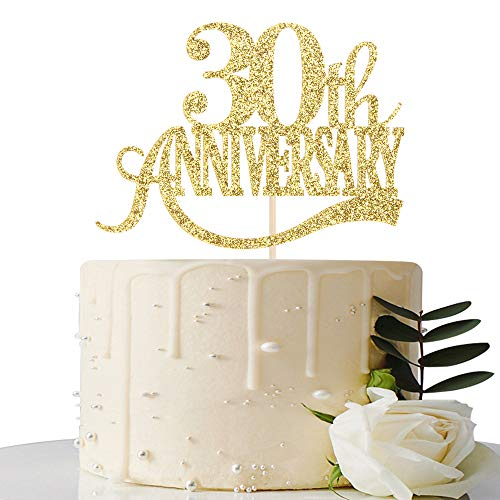 Gold Glitter 30th Anniversary Cake Topper - for 30th Wedding Anniversary / 30th Anniversary Party / 30th Birthday Party Decorations