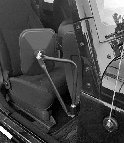 Shake-proof Rectangular Adventure Mirrors,Doors off Mirrors Doorless Mirrors Kesgiter Bolt-on Door Hinge Mirror Fits all Jeep Wrangler JK CJ YJ TJ (1 Pair), Textured Black