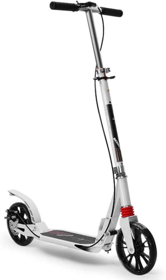 スクーター ブレーキおよび大きい車輪が付いている折り畳み式の蹴りのスクーター、調節可能なT棒スクーター子供のための最もよいギフト男の子女の子、白2の車輪のスクーター