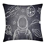 Ambesonne Modern Throw Pillow Cushion Cover, Space Backdrop with Planets and Sketchy Astronaut Figure Asteroid Galaxy Image, Decorative Square Accent Pillow Case, 18 X 18 Inches, Cadet Blue White