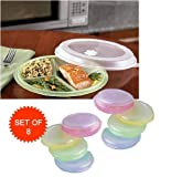 MICROWAVE DIVIDED PLATES WITH VENTED LIDS (SET OF 8 IN ASSORTED COLORS) by B.W.