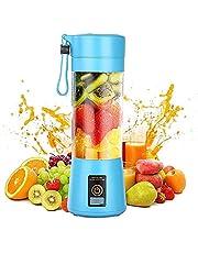 Personlig mixer, bärbar juicepress elektrisk fruktmixer, mini mixer smoothie maker mixer, USB-juicemixer, uppladdningsbar, 6 blad i 3D för utmärkt blandning, 380 ml (blå)