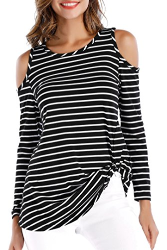 OYANUS Womens Cold Shoulder Long Sleeve Twist Knot Blouses Striped T Shirt Tops Striped - Long Shoulder Tee Sleeve
