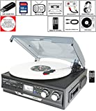 Boytone BT-17DJB-C 8-in 1 Turntable 3-Speed Stereo, 2 built in Speakers Digital LCD Display AM/FM Radio + Supports USB/SD/AUX+ MP3, Cassette & WMA Playback /Recorder & Headphone Jack + Remote