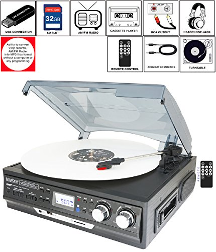 Boytone BT-17DJB-C 8-in 1 Turntable 3-Speed Stereo, 2 built in Speakers Digital LCD Display AM/FM Radio + Supports USB/SD/AUX+ MP3, Cassette & WMA Playback /Recorder & Headphone Jack + Remote by Boytone
