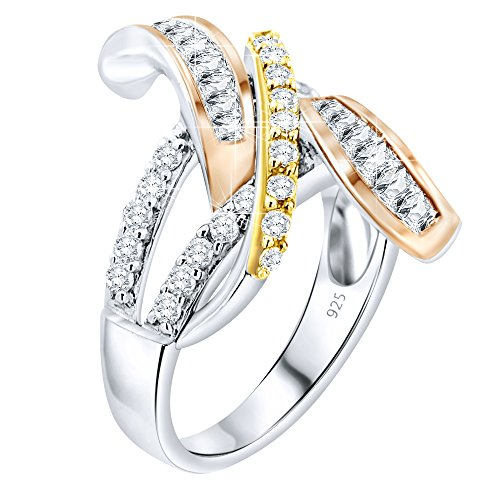 Women's 3 Tone Sterling Silver .925 Ring Rose Gold Cubic Zirconia (CZ) Stones, Platinum Plated ()