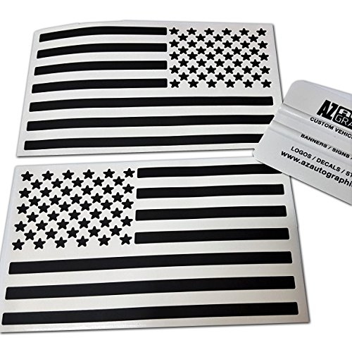 Az Auto Graphics (Matte Black 4 x 7) Two US American Flag Decal Sticker Die-Cut Subdued Jeep Car Truck