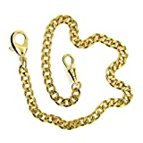 14'' Pocket Watch Chain Gold Plated Curb Link Fob Brass Chain with Lobster Clasp FC04