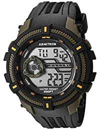 Armitron Sport Men's 40/8384OGN Olive Green Accented Digital Chronograph Black Resin Strap Watch