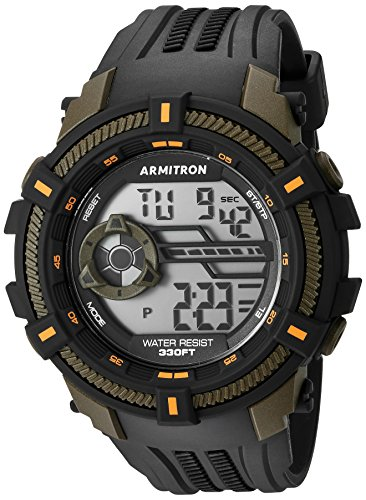 - Armitron Sport Men's 40/8384OGN Olive Green Accented Digital Chronograph Black Resin Strap Watch