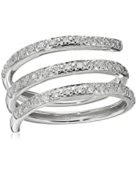 Rhodium Plated Sterling Silver Spiral Diamond Ring (1/5cttw, H-I Color, I2 Clarity), Size 8