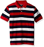 The Children's Place Big Boys' Rugby Striped Top, Tango Red, M (7/8)