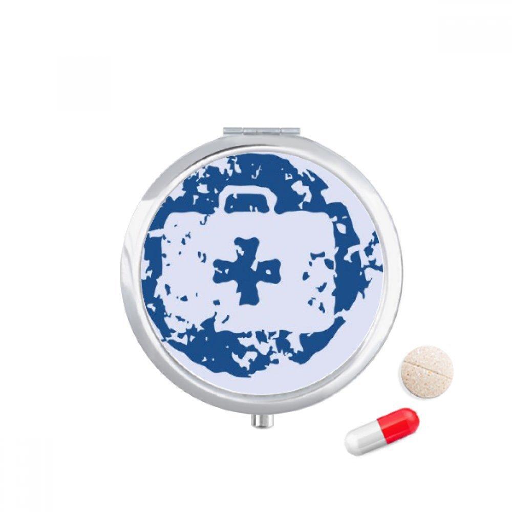 Blue First-aid Kit Design Round Illustration Pattern Travel Pocket Pill case Medicine Drug Storage Box Dispenser Mirror Gift