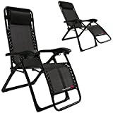 (US) FLAMROSE UPGRADED Zero Gravity Lounge Chair with Headrest- Patio,Camping,Beach,Deck,Outdoor
