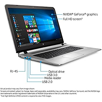 HP Envy 17t Gaming Edition 17.6-Inch Full HD Laptop - Intel Core i7-7500U, 16GB Memory, 512GB SSD, NVIDIA GeForce 940MX 4GB Graphics, DVD Burner, Windows 10
