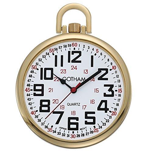 Gotham Men s Gold-Tone Slim Railroad 24 Hour Open Face Quartz Pocket Watch GWC15029G