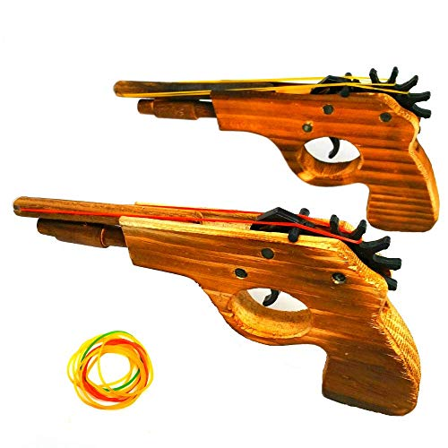 (Adventure Awaits! - 2-Pack Rubber Band Gun - Quality Wood & Handmade - Easy Load - 8 Rubber Bands per Set)