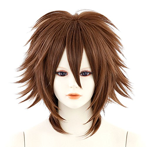 Lion Base Heat-resistant Medium Length Spiky Hair Cosplay Wig Cocoa brown (A021) (Spiky Blonde Wig)