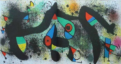 MIRO & Artigas Ceramique,1974, Corredor-Matheos. French Text, Contain 2 double-page signed on plate lithographs. -