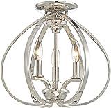 Minka Lavery Flush Mount Ceiling Light 4983-613 Tilbury Low Profile Fixture, 3-Light 180 Watts, Polished Nickel