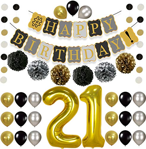Vintage 21st BIRTHDAY DECORATIONS PARTY KIT -Black Gold and Silver Paper PomPoms| Latex Balloons | Gold Number 21 Ballon | Circle Garland |21st Birthday Balloons, 21 Years Old Birthday Party Supplies