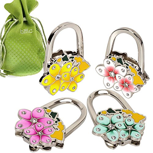 BMC 4pc Theme Designed Shoulder Handbag Folding Purse Holder Hangers Hooks Set - Hawaii Island Theme Purse Clip