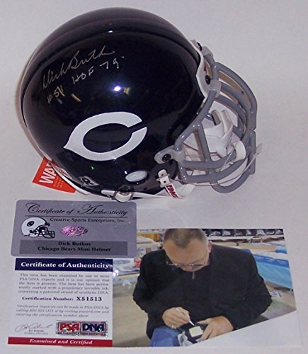 hed Hand Signed Chicago Bears Authentic Throwback Mini Helmet HOF 79 Inscription - PSA/DNA ()