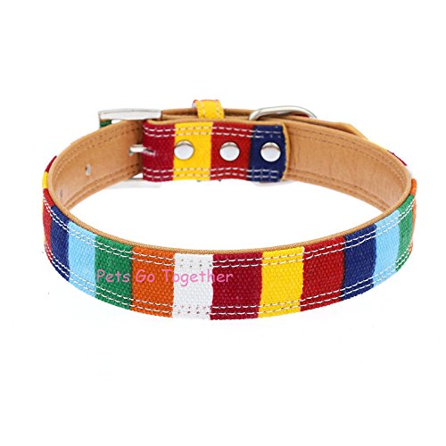 Hyalo(TM) Colorful Canvas Pet Dog Collar Designer Perro Collar For Large Dog Personalized Bone Rhinestone Cat Collar S/M/L