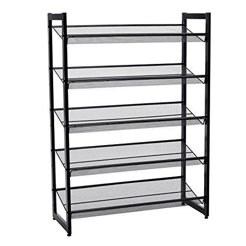 a855d882b SONGMICS 5 Tier Metal Mesh Shoe Rack with Flat Angled Shelves