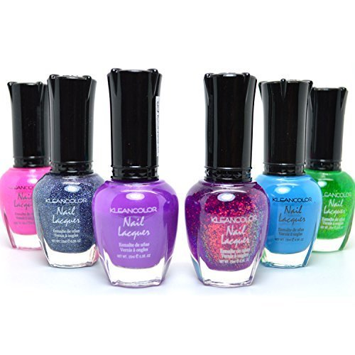 KLEANCOLOR 6 MIX COLORS NEON HOLO CHUNKY PINK SET NAIL POLISH LACQUER KMIX02 + FREE EARRING by Kleancolor