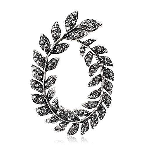 Liujun Wreath Brooches for Women, Fashion Classic Design Leaf Wreath Jewelry Brooch, Gun Black Metal Inlaid Rhinestone Charm Pin, Gifts for Women