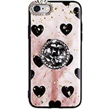 PHEZEN Compatible with iPhone 6 Plus/6S Plus Case Girls Bling Glitter Sparkle Love Heart TPU Case with Rhinestone Diamond 360 Ring Stand Holder Soft Silicone Rubber Bumper Case for iPhone 6S Plus, Red