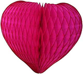 product image for 3-pack Mini 8 Inch Honeycomb Heart Decoration (Cerise)
