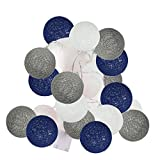 2.5m 20 LED White Navy Blue Grey Cotton Balls String Lights Battery Operated Christmas LED Garland Party Decorative Lamp for Baby Shower Birthday Party Wedding Decoration Kids Room Decoration