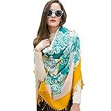 DANA XU 100% Pure Wool Women Winter Large Size Pashmina Travel Shawl (Blue&Yellow)
