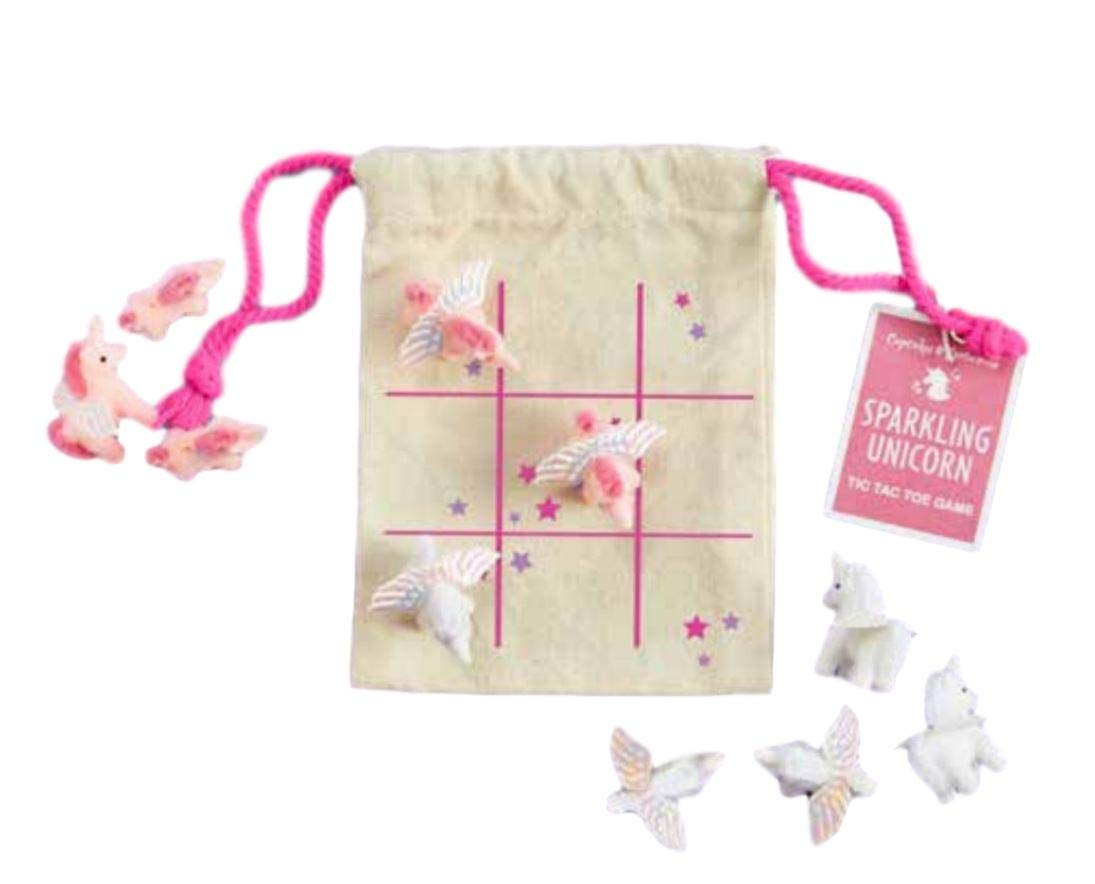 Sparkling Unicorn Handcrafted Tic Tac Toe Travel Game