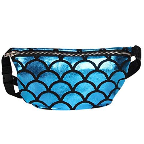 hossty Frauen Mermaid Taille Pack Crossbody Schultertasche Fish Scale Handtasche Fanny Pack blau