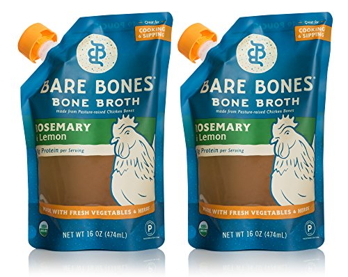 Organic Chicken Bone Broth by Bare Bones - Organic, Chicken Bone Broth, Rosemary & Lemon Flavor, Protein-rich, 16 oz (2-pack)