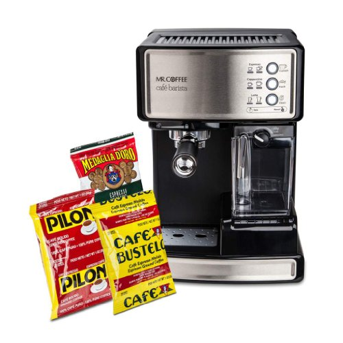 Mr. Coffee BVMC-ECMP1000-CS30 Cafe Barista Espresso Maker with Bonus Coffee Bundle, With Free Sample