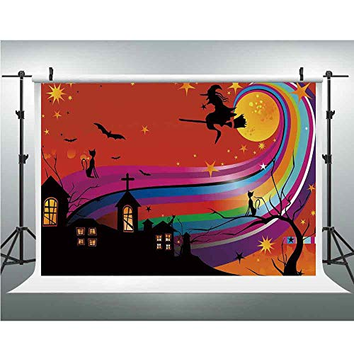 Photo Video Photography Studio Fabric Backdrop Background Screen,Halloween,5x6.5ft,Witch Woman on Broomstick Bats Cat Stars Rainbow Moon Castle Abstract Colorful Decorative