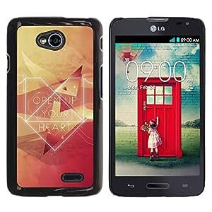 Be Good Phone Accessory // Dura Cáscara cubierta Protectora Caso Carcasa Funda de Protección para LG Optimus L70 / LS620 / D325 / MS323 // Open Up Your Heart Hipster