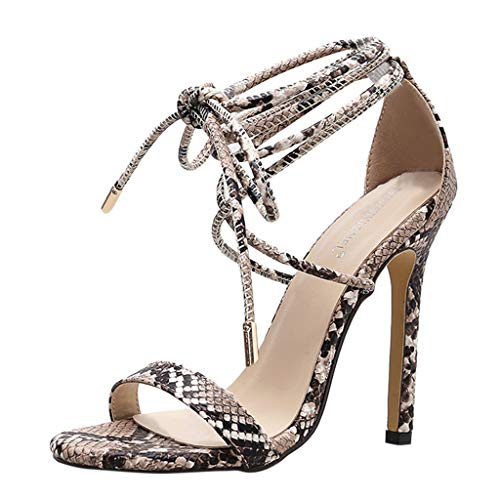 - Women Snake Stiletto Sandals,HOSOME Women's Sexy Cross-Strap High Heels Roman Shoes Black