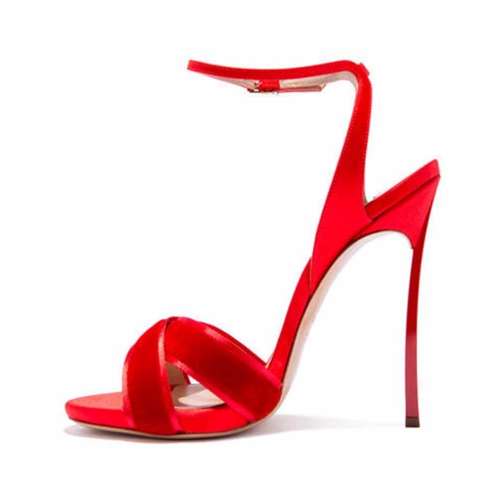 Onfly New Frauen High Heel Schuhe 2018 Sommer Neue Charmante Sandalen Knouml;chelriemen Pumpen Groszlig;e Grouml;szlig;e eu size  43|Rot